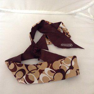 COACH Signature Silk Hair Headband Brown